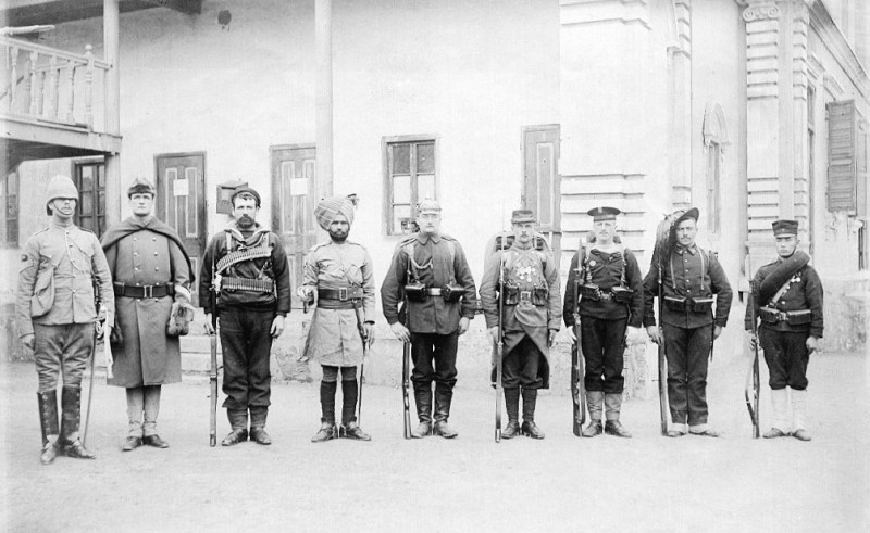Troops of the Eight nations alliance of 1900 in China. Left to right: Britain, United States, Australia (British Empire colony at this time), India (British Empire colony at this time), Germany (German Empire at this time), France, Austria-Hungary, Italy, Japan.