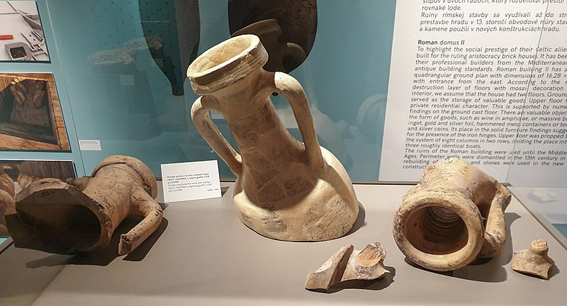 A museum exhibit photographed showing tubs that were used for wine.