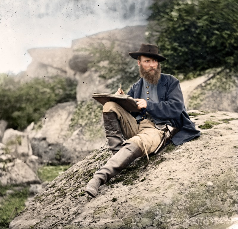 The American Civil War in Color, Alfred R. Waud, sketching at Devil's Den, shortly after the Battle of Gettysburg, July 1863.
