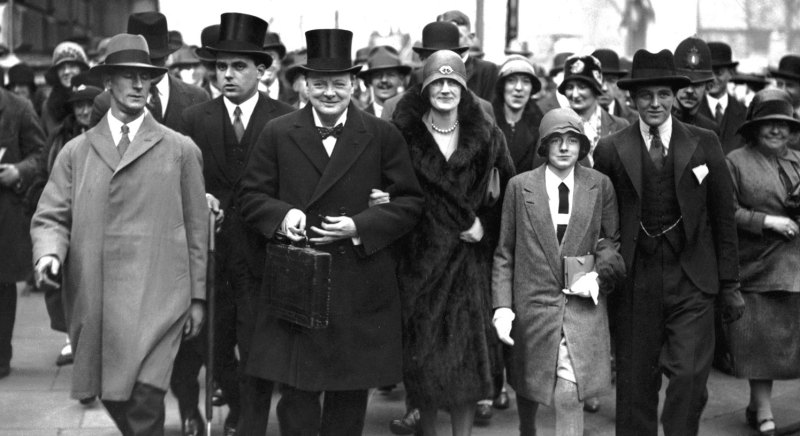 Churchill on Budget Day with his wife Clementine and children Sarah and Randolph, 15 April 1929.