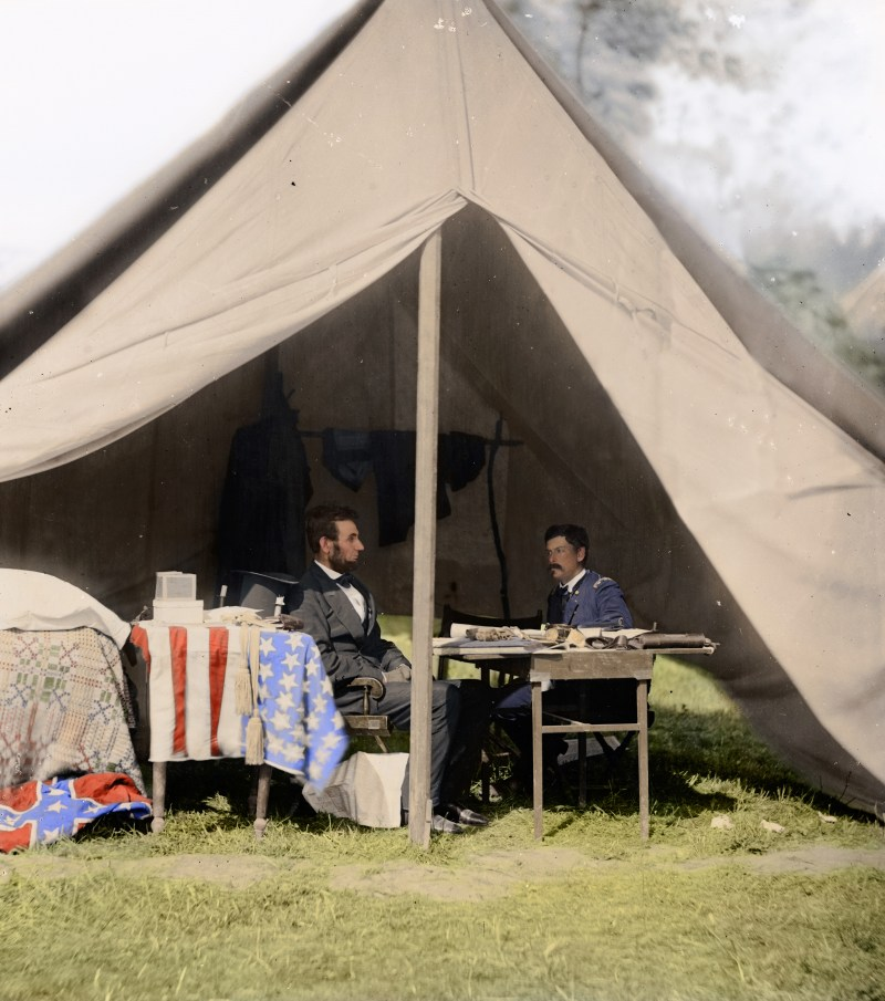 Colorized photo of President Abraham Lincoln and General George McClellan at Antietam in October 1862 during the American Civil War (in color)