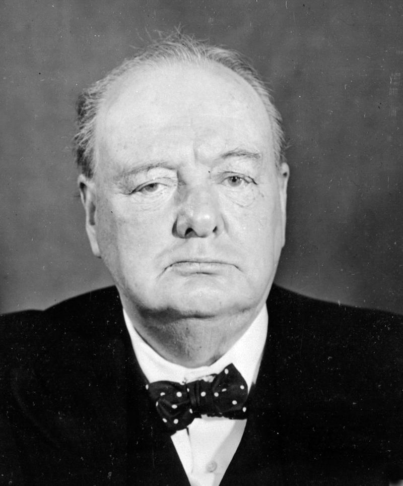 A face portrait of Winston Churchill wearing a bowtie in March 1945.