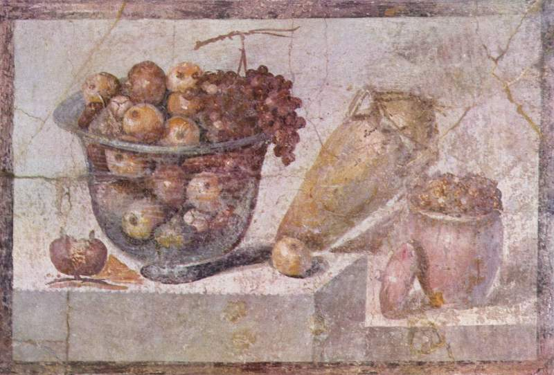 Roman Pompeii Painting Still life with glass bowl of fruit and vases Still Life
