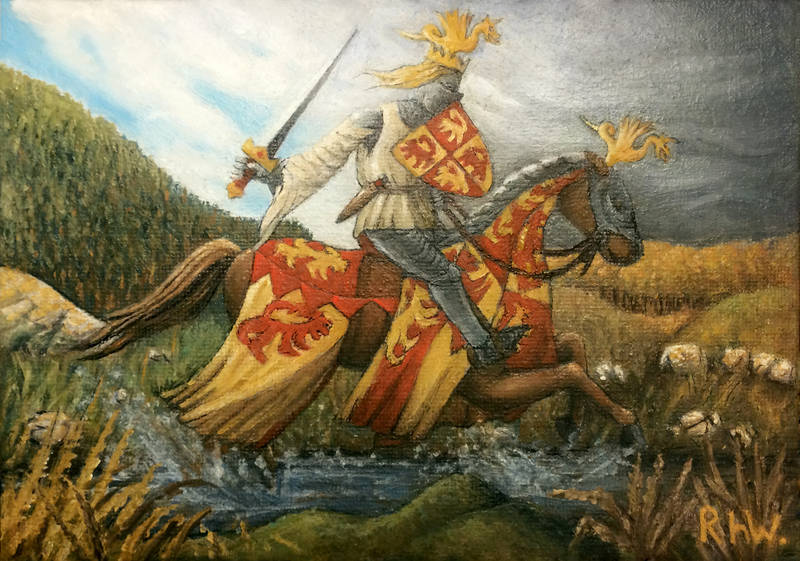 an oil painting of Owain Glyndŵr by Welsh Artist Rhŷn Williams