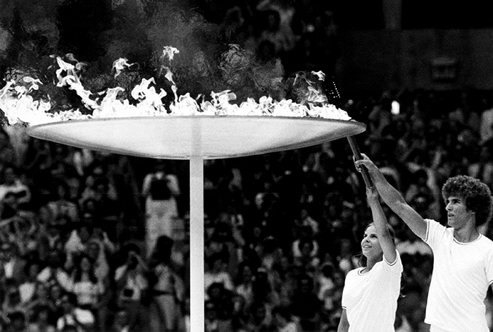 Stephane Prefontaine, Sandra Henderson lighting the Olympic flame in 1976