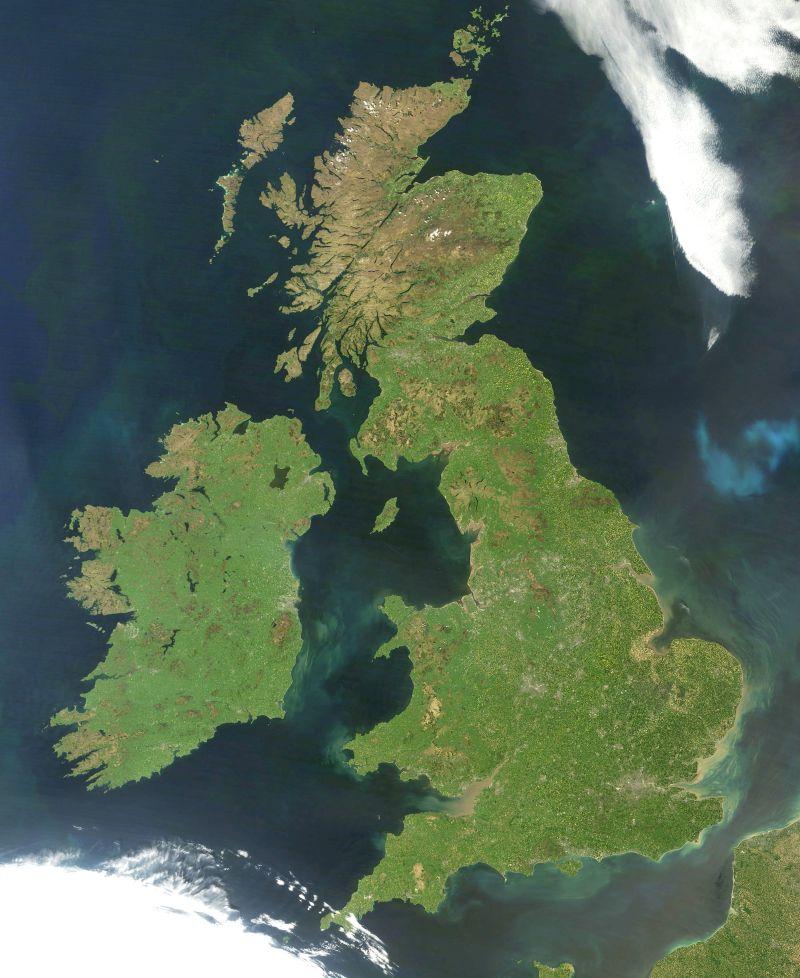 Satellite photo of Great Britain