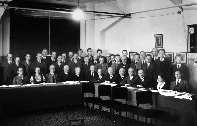 Lise Meitner seated second from the far left at the 7th Solvay Conference in 1933.