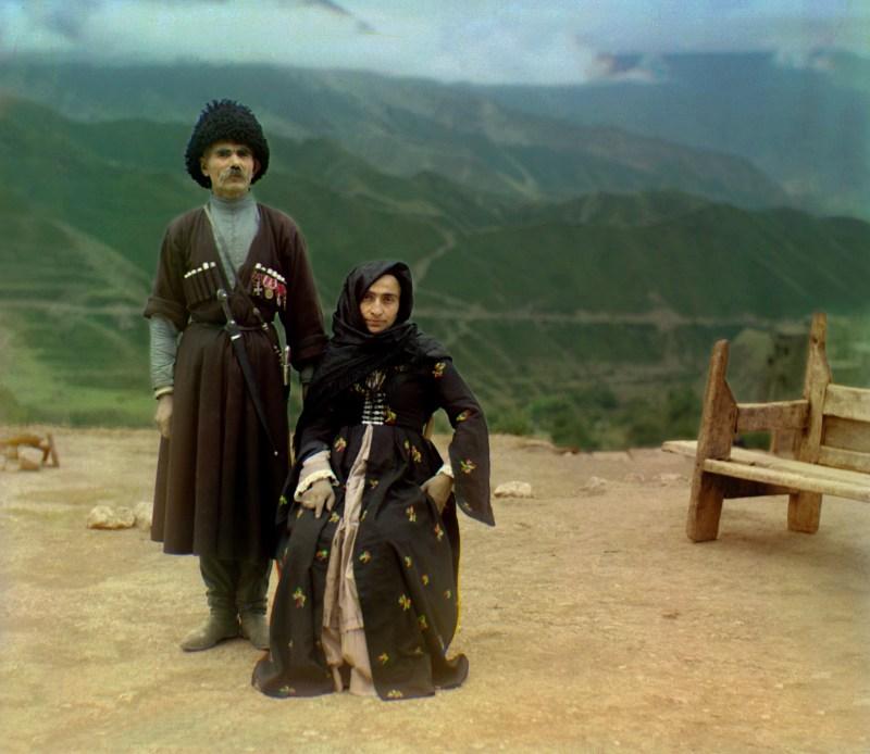 Dagestani couple in the Russian Caucasus Mounatins