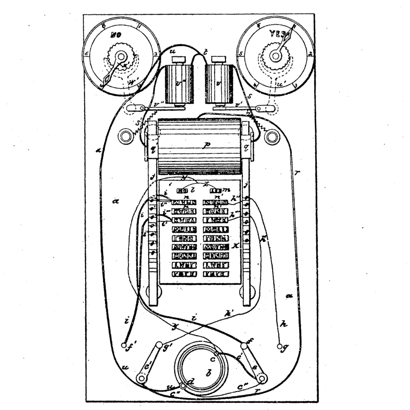 Thomas Edison's first patent, a drawing of the vote recorder on his patent