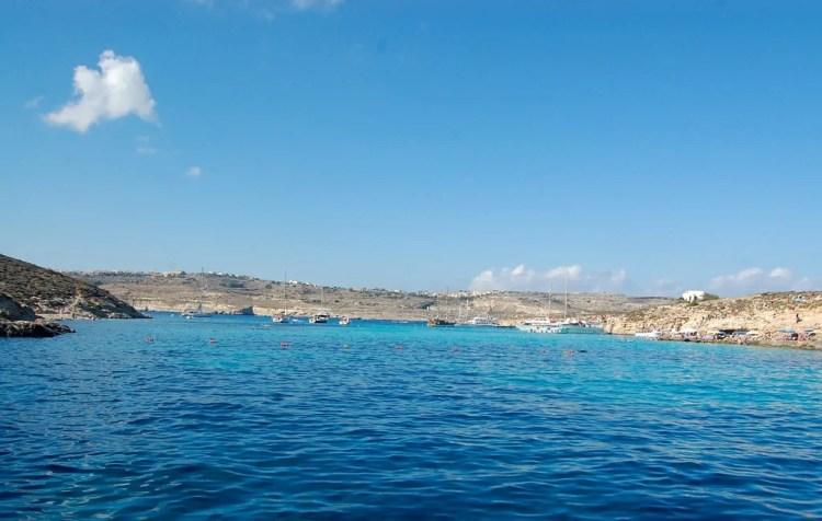 Malta - Comino - Ferry leaving the Blue Lagoon