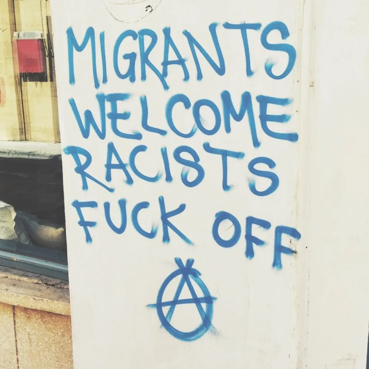 Cyprus is across the Mediterranean from Syria and has many cultural ties. Pro Syrian Refugee graffiti is common.