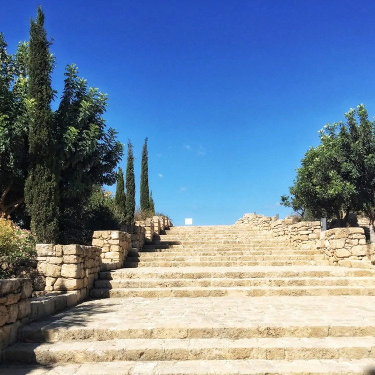 Stairs at the entrance to the Paphos Archeological Park