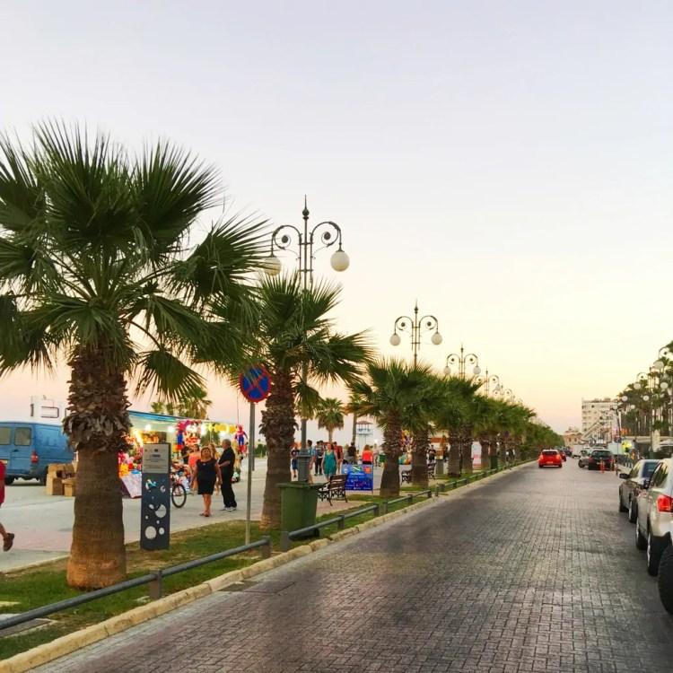 The Finikoudes Boardwalk at dusk