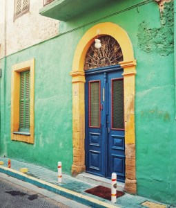 cyprus nicosia door beautiful architecture blue green yellow