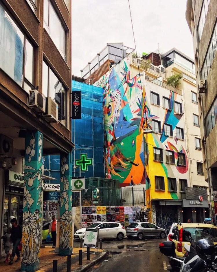 A mural on a building in Monastiraki