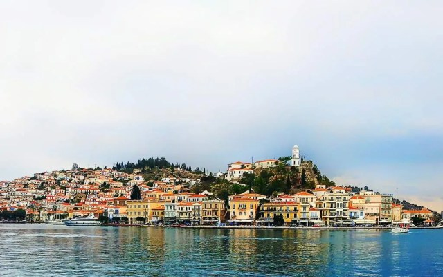 Sailing away from the Greek Island of Poros
