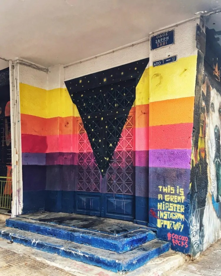"""The caption of this mural is """"This is a Great Hipster Instagram Opportunity #cocorocks"""" I love it, but I was too self-conscious to actually Instagram it. And who is Coco and why does #cocorock?"""