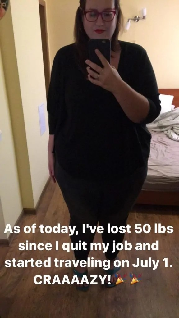 Travel Weight-Loss Selfie from Instagram Stories