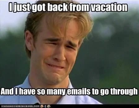coming back from vacation email meme