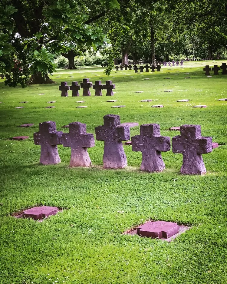 Crosses at La Cambe, where over 20,000 German soldiers are buried.