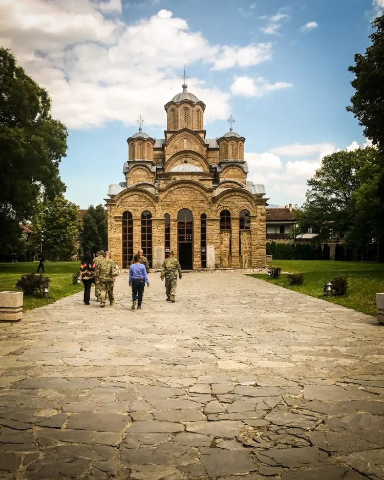American officers getting a tour of Gracanica Monastery
