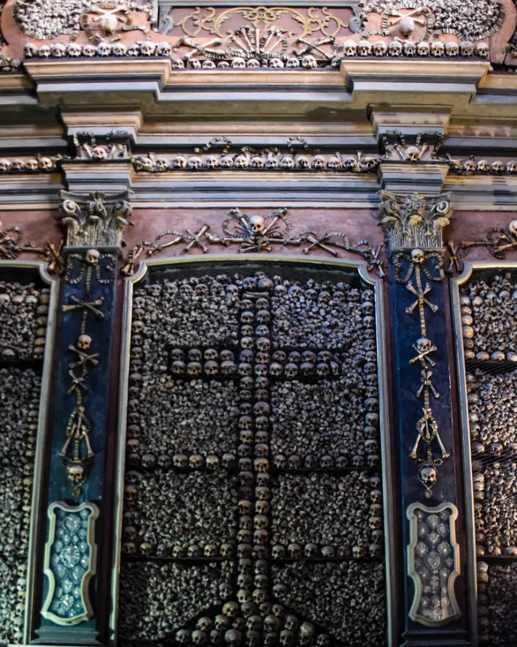 The bone chapel inside San Bernardino alle Ossa