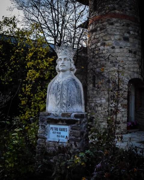 A statue of Petru Rares at Moldovita