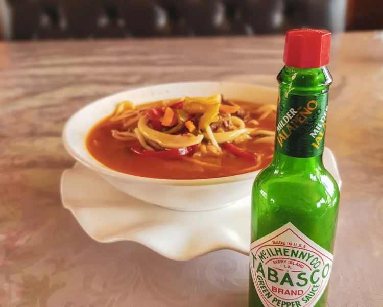 I was happy to have my own tabasco sauce in Kyrgyzstan so I could mix things up a bit.