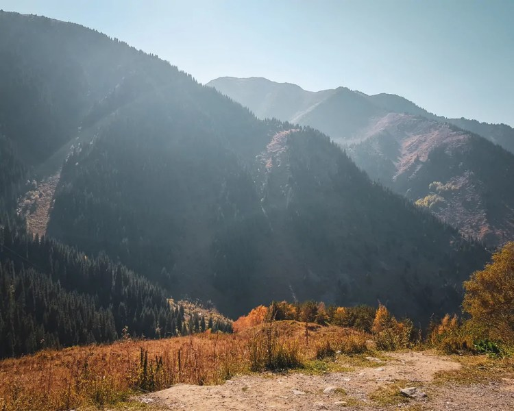 Stopping to enjoy the fall colors on the mountains southeast of Almaty
