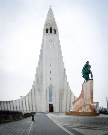 Iceland - Reykjavik - Leif Eriksson Statue and Hallgrímskirkja