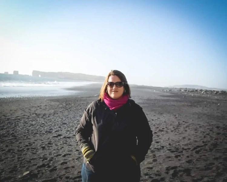 Iceland - Vik - Stephanie Craig on Reynisfjara Black Sand Beach