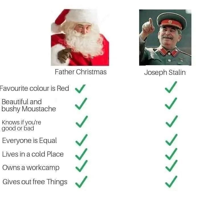 Stalin versus Santa Clause meme