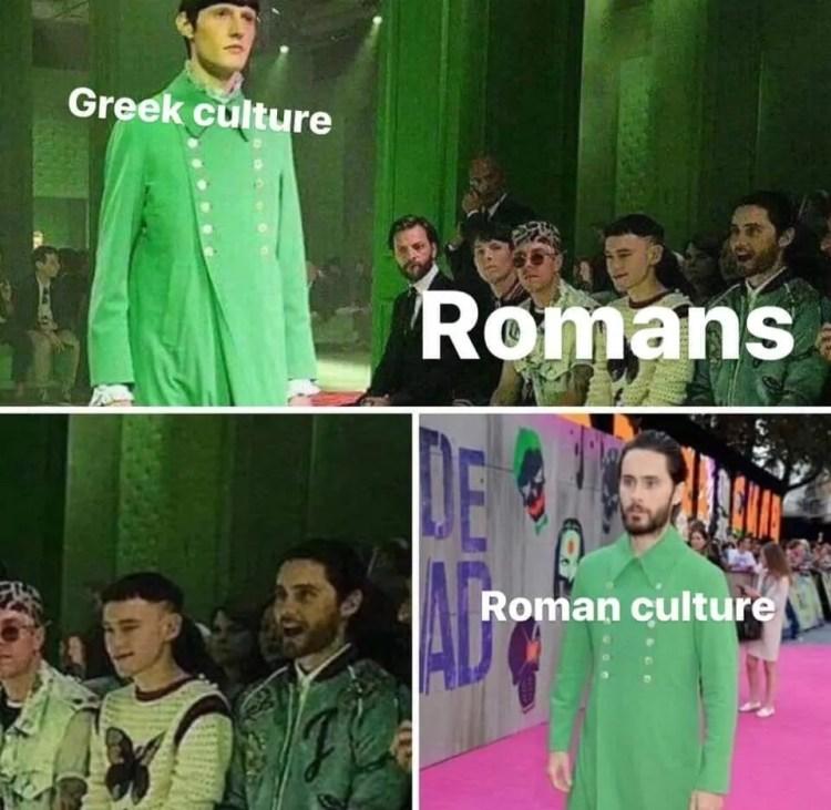 Greek versus Roman Culture Memes