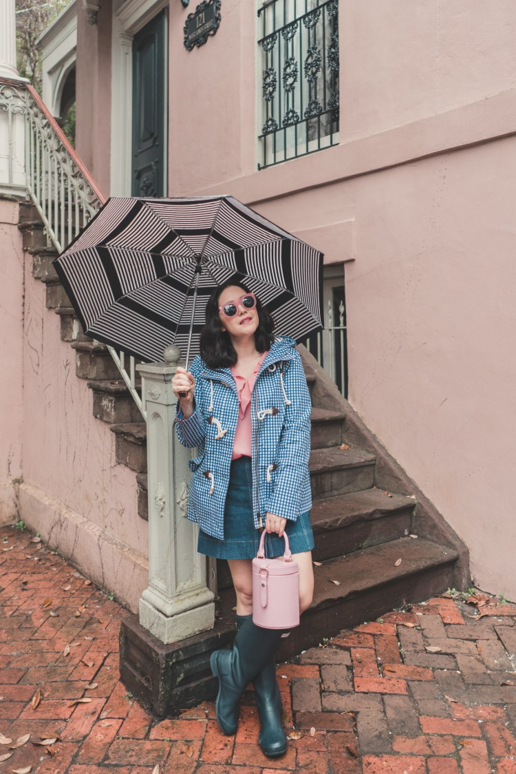 Boden Gingham Rain Jacket