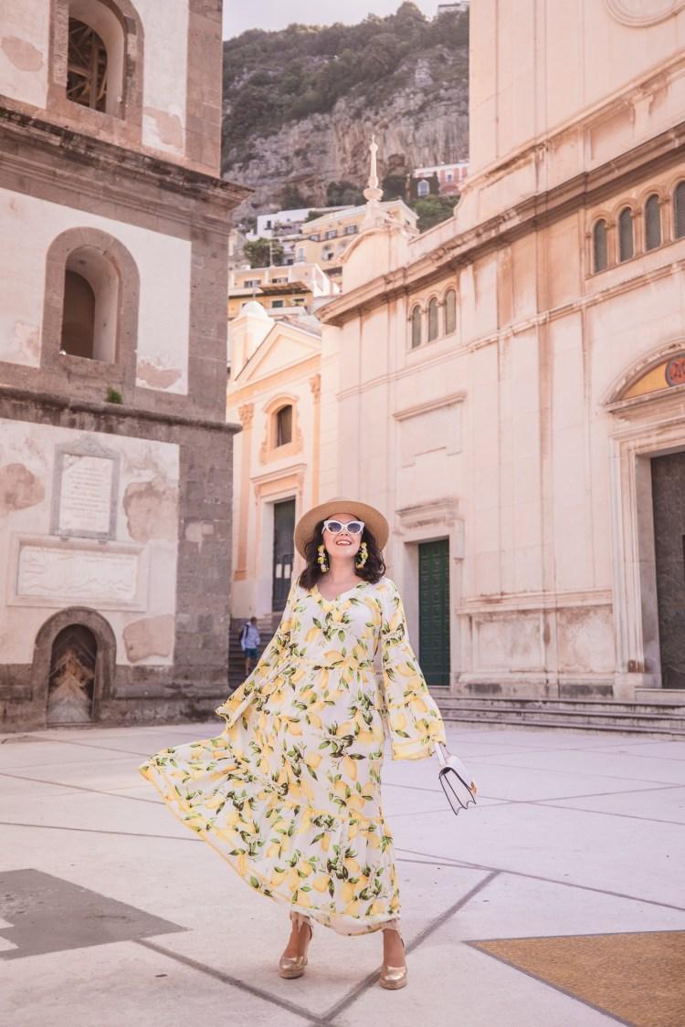 Lemon print dress in Positano
