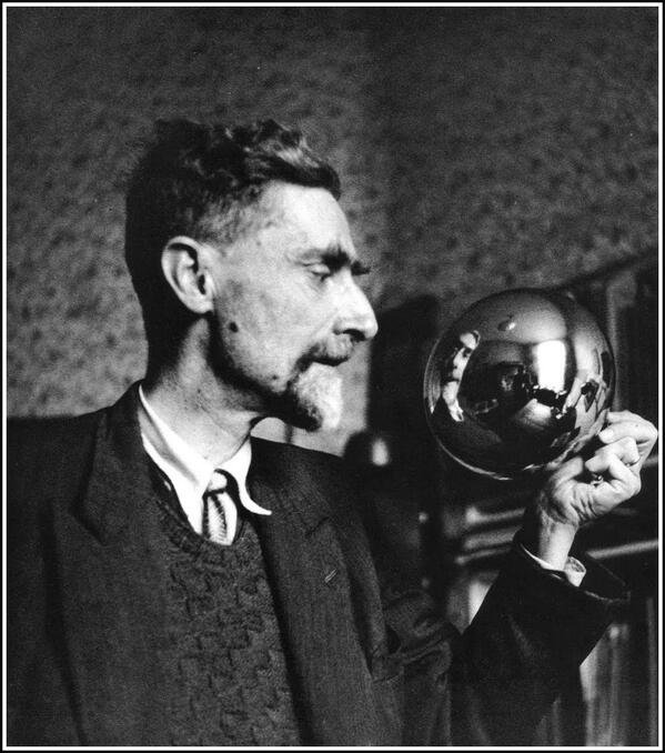 Stunning Image of Spherical Mirror and Maurits C Escher in 1935