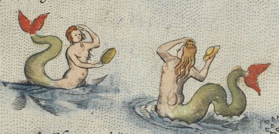 Close up of mermaids from Ortelius, Indiae Orientalis,1572