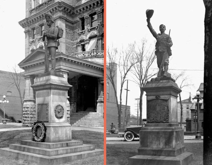 Sharpshooters' and Boer War memorials outside Ottawa City Hall.