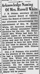 Mrs. White appointed to the Milk Board of Ontario. Source: Ottawa Citizen, February 21, 1940.