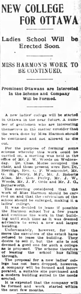 Miss Harmon's work was immeasurably valued in the city and leading citizens sought to continue it. Source: Ottawa Journal, May 20, 1905.