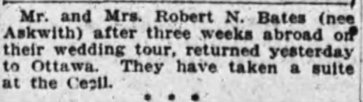 Following their honeymoon, Robert and [NAME] returned to Ottawa, staying in the Hotel Cecil. Source: Ottawa Journal, December 20, 1909.