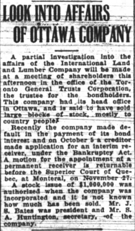 International defaulted on its bond payments in 1923. Source: Ottawa Journal, November 20, 1923.