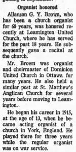 Recognition for 60 years as an organist. Source: Ottawa Journal, May 10, 1975.