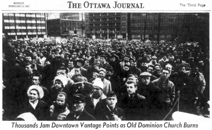 Huge crowds showed up to witness the burning of Dominion United Church, formerly located at Metcalfe and Queen. Source: Ottawa Journal, February 6, 1961.