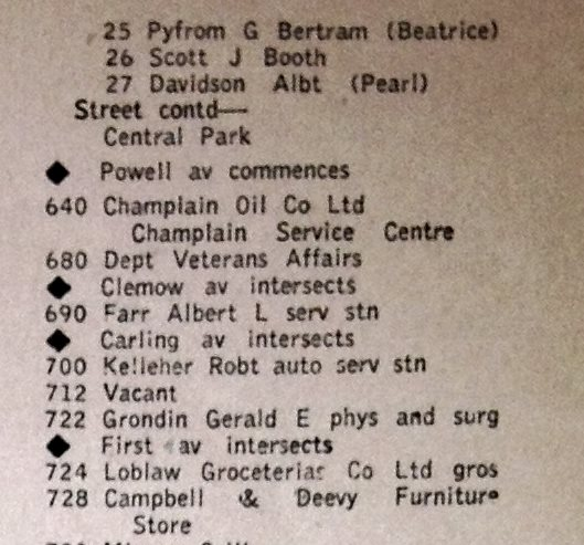 Entry from the 1949 City Directory. Note that the stated position on the north west corner of Bank and Clemow is incorrect. It would amended in later editions of the directory. Source: Ottawa City Directory, 1949, Pink Page 19.
