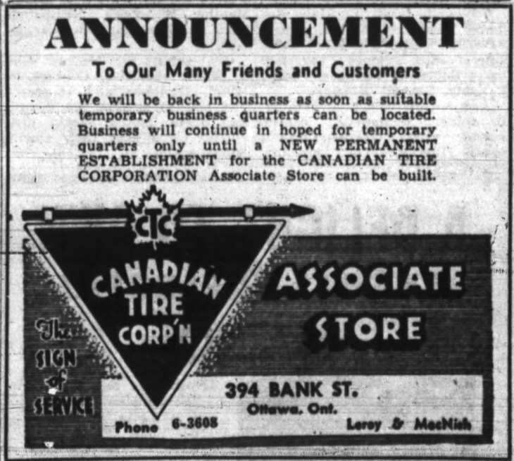 It was distinctive Canadian Tire triangle logo that helped bring them in. It was also the neon-lit version that rendered the retailer homeless. Source: Ottawa Journal, February 1, 1950, Page 19.