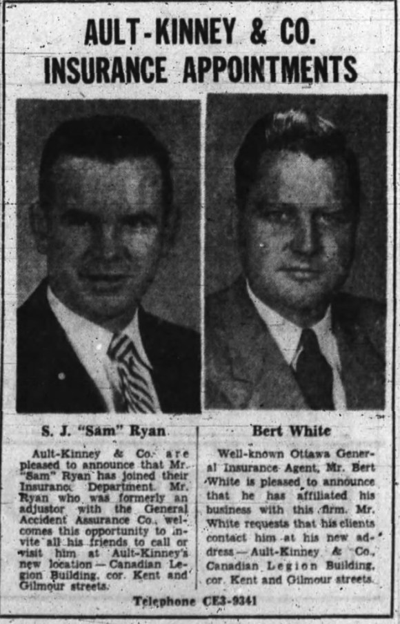 During the 1950s and 1960s, Ault-Kinney was a veritable force in Ottawa development. Source: Ottawa Journal, November 2, 1956, Page 36.