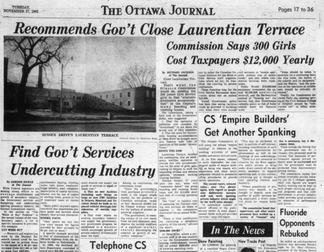 The closure of the money-losing 'Girls Town' was significant news. Source: Ottawa Journal, November 27, 1962, Page 17.