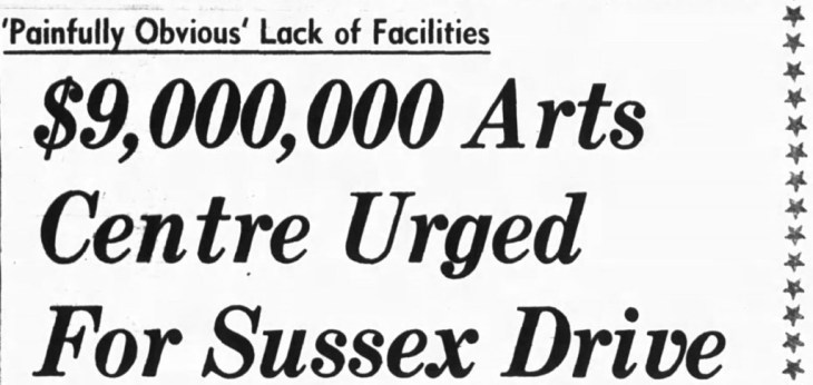 The first serious proposal for the site was to host the National Arts Centre. Source: Ottawa Journal, October 28, 1963, Page 1.