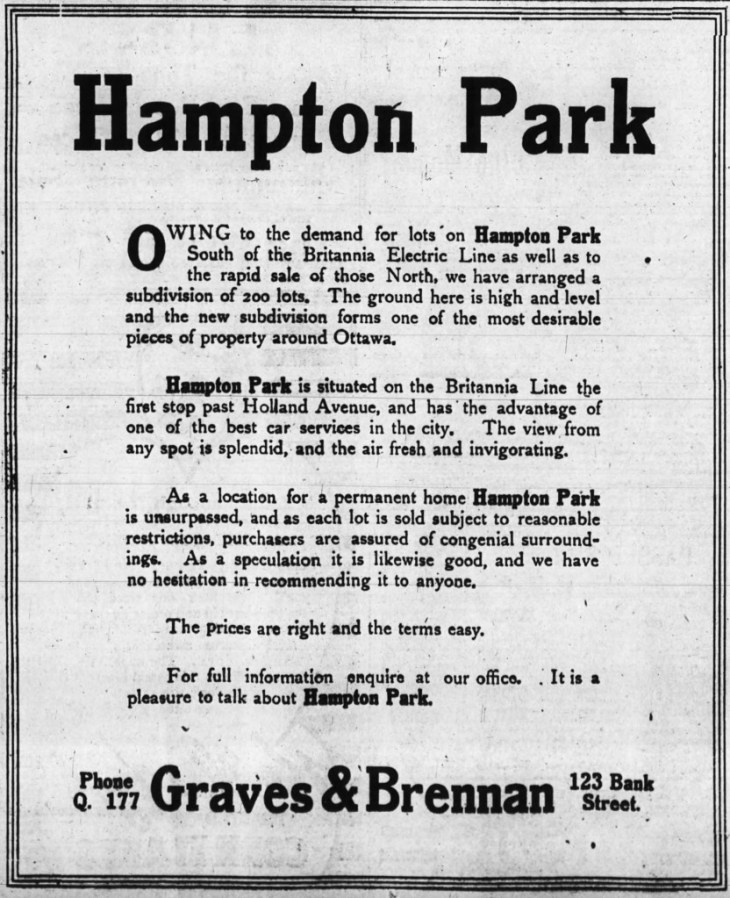 An advertisement for Hampton Park. Source: Ottawa Journal, August 10, 1912, Page 7.